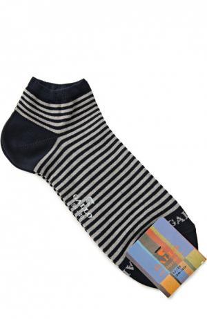 Хлопковые укороченные носки в полоску Gallo. Цвет: синий