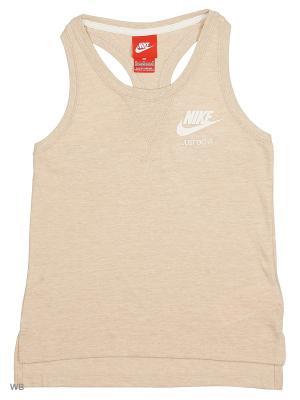 Топ GYM VINTAGE TANK YTH Nike. Цвет: бежевый