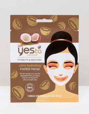 YES TO Суперувлажняющая бумажная маска для лица Coconuts. Цвет: бесцветный