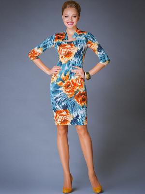 Платье Арт-Деко. Цвет: голубой, оранжевый