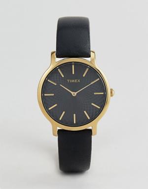 Timex Часы с черным кожаным ремешком TW2R36400 Skyline 34 мм. Цвет: черный