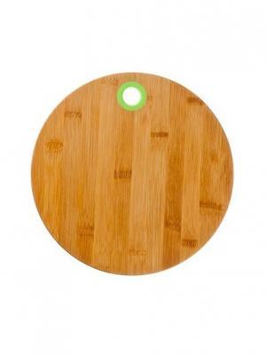 Доска разделочная, d25x1см, бамбук, силикон Vetta. Цвет: бежевый