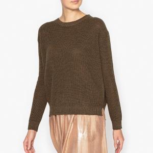 Пуловер из меланжа шерсти и льна POMANDERE. Цвет: хаки