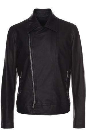 Кожаная куртка с косой молнией и отложным воротником Brioni. Цвет: черный