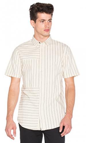 Рубашка с полосатыми вставками на длинных рукавах I Love Ugly. Цвет: беж
