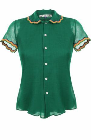 Шерстяная блуза с коротким рукавом Jupe by Jackie. Цвет: зеленый