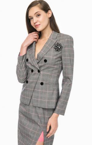 Серый двубортный пиджак в клетку Pinko. Цвет: серый