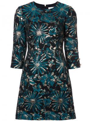 Жаккардовое платье с цветочным рисунком Trina Turk. Цвет: зелёный