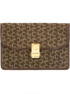 Клатч-конверт Céline Vintage. Цвет: коричневый