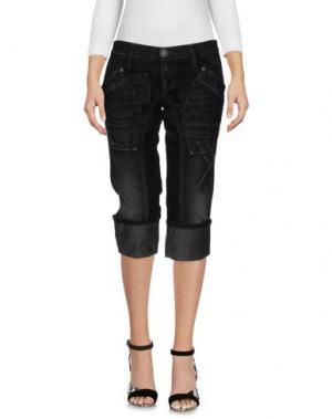 Джинсовые брюки-капри TAKE-TWO. Цвет: черный