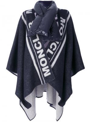 Пончо с логотипом Moncler. Цвет: синий