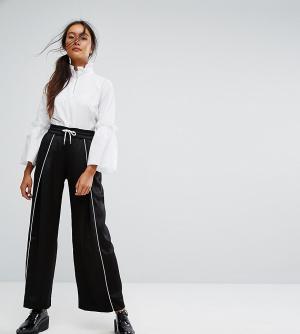 Monki Широкие брюки с контрастной окантовкой. Цвет: черный