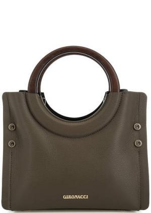 Кожаная сумка с округлыми ручками Gironacci. Цвет: хаки