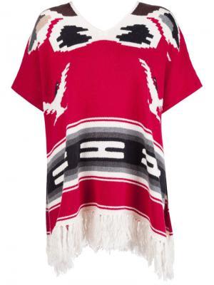 Пончо с бахромой NSF. Цвет: красный