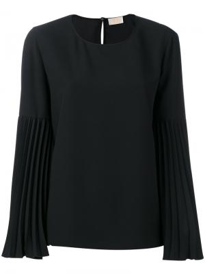 Блузка с плиссированными рукавами Sara Battaglia. Цвет: чёрный