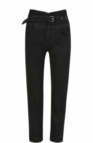 Укороченные джинсы с завышенной талией и поясом Isabel Marant. Цвет: черный