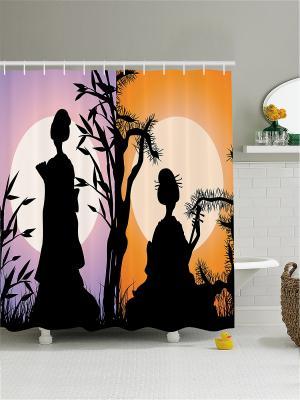 Штора для ванной Magic Lady. Цвет: черный, лиловый, оранжевый
