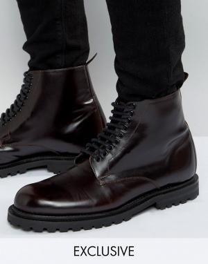 Hudson London Кожаные ботинки со шнуровкой эксклюзивно для ASOS. Цвет: красный