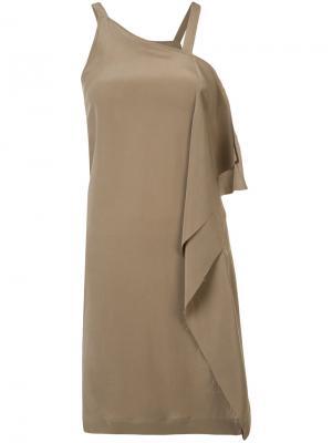 Asymmetric drape dress Isabel Benenato. Цвет: коричневый