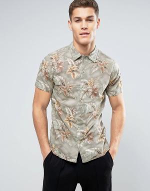 Jack & Jones Рубашка с коротким рукавом и сплошным принтом Vintage. Цвет: зеленый