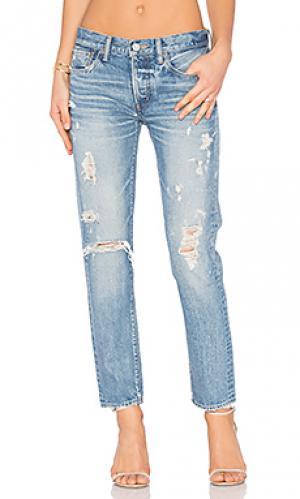 Состаренные облегающие джинсы aberdeen Moussy. Цвет: none
