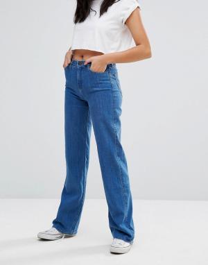 Lee Джинсы в стиле ретро с завышенной талией и широкими штанинами. Цвет: синий