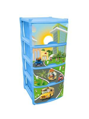 Детский комод для детской комнаты City Cars Tutti 4 ящика Little Angel. Цвет: голубой