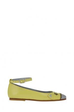 Балетки с отделкой Bonpoint. Цвет: желтый