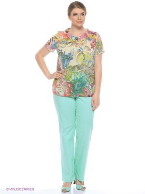 Блузка Битис. Цвет: зеленый, коралловый