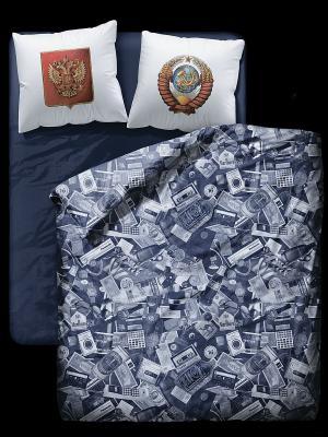Комплект постельного белья Симачев. Цвет: темно-синий, белый