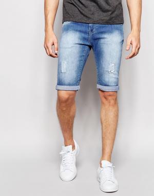 Loyalty & Faith Окрашенные спреем светлые состаренные джинсы. Цвет: синий