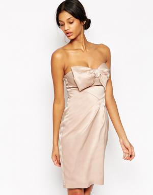 Lipsy VIP Платье‑бандо с бантом. Цвет: розовый