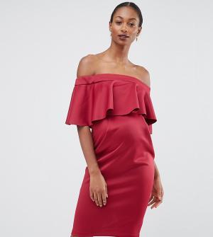 ASOS Maternity Платье-футляр для беременных с атласным топом PREMIUM. Цвет: красный