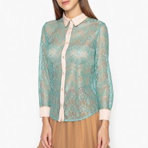Рубашка из двухцветного кружева SISTER JANE. Цвет: бирюзовый