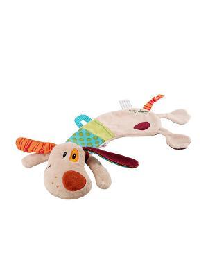 Собачка Джеф: игрушка-обнимашка в коробке Lilliputiens. Цвет: бежевый, бордовый, салатовый
