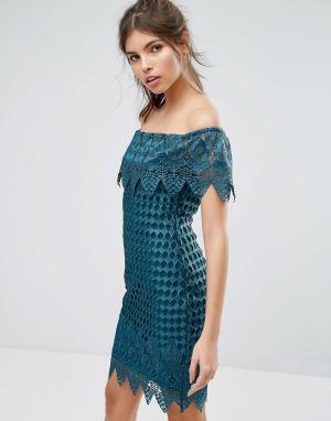 Forever Unique Кружевное платье с широким вырезом. Цвет: зеленый