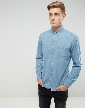 Esprit Джинсовая рубашка классического кроя. Цвет: синий