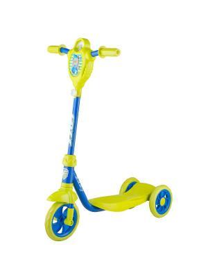 Самокат городской Foxx Baby с пластиковой платформой и EVA колесами 115мм (и.упак.), щиток, ультрама. Цвет: синий,светло-желтый