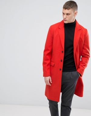 Lindbergh Красное пальто из ткани с добавлением шерсти. Цвет: красный