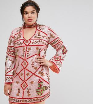 Frock and Frill Plus Платье с чокером и отделкой. Цвет: мульти