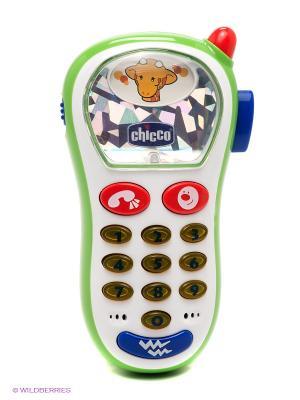 Игрушка телефон музыкальный с фото CHICCO. Цвет: белый, синий, красный