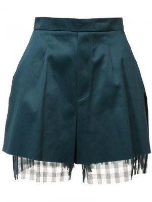 Многослойные шорты с необработанными краями Yang Li. Цвет: зелёный