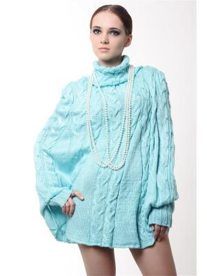 Пончо-джемпер вязаный вручную Льдинка SEANNA. Цвет: голубой