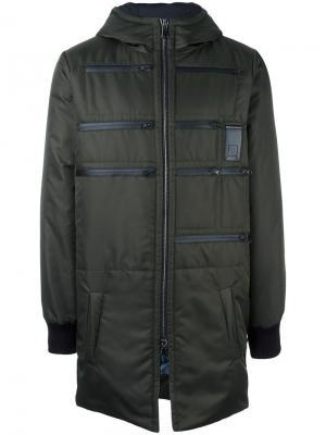 Пуховое пальто с капюшоном Letasca. Цвет: зелёный