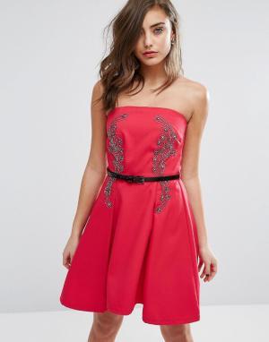 Little Mistress Приталенное платье бандо. Цвет: красный