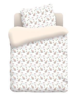 Комплект постельного белья в кроватку бязь Ушастики Непоседа. Цвет: белый