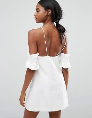C/meo Collective Платье мини Double Take. Цвет: белый