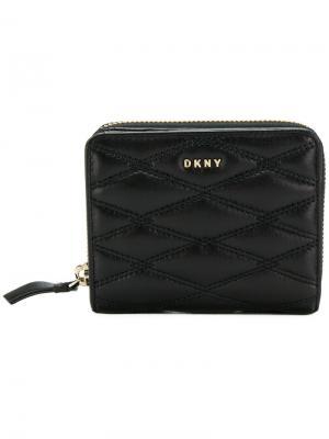 Стеганый кошелек в полоску DKNY. Цвет: чёрный