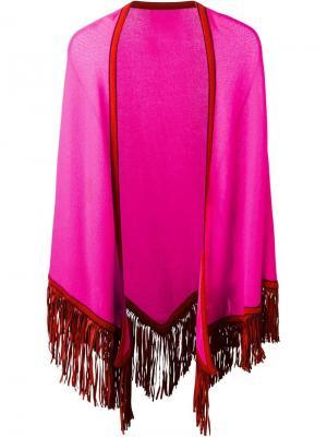 Пончо с бахромой Antonia Zander. Цвет: розовый и фиолетовый