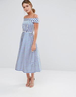 Closet London Платье в полоску с открытыми плечами. Цвет: мульти